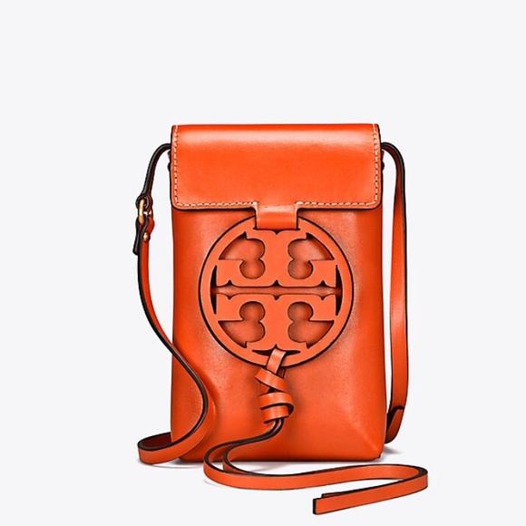 b24dee9c61ef TORY BURCH Miller Phone Crossbody Brilliant Orange